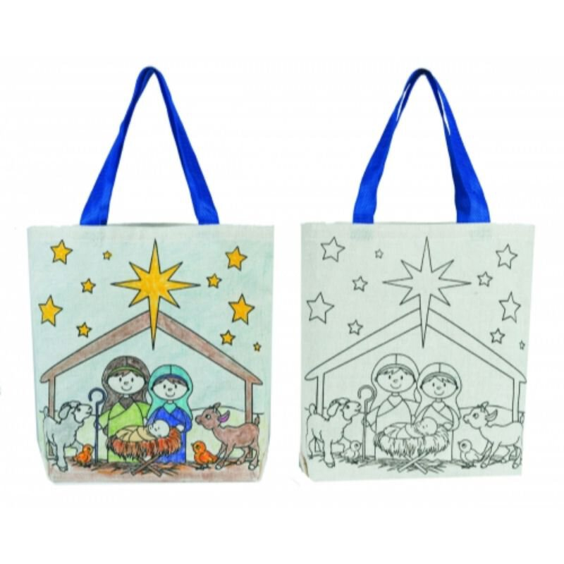 Color Your Own Tote Bag - Children's Nativity - 12/pk