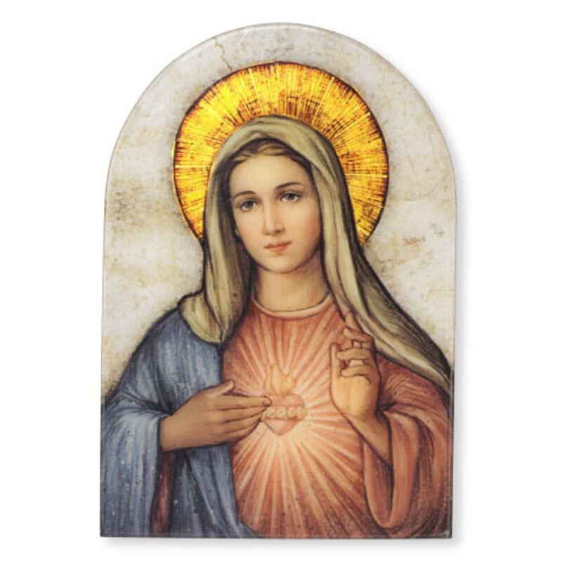 "Marco Sevelli 5"" x 7"" Arched Immaculate Heart of Mary Plaque"