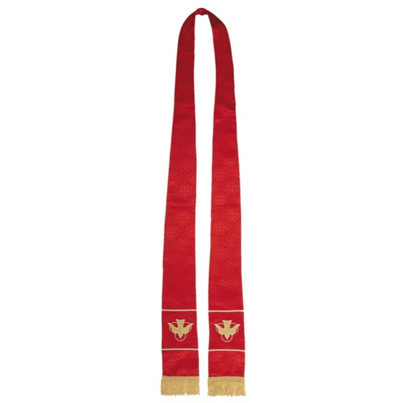 Maltese Cross Jacquard Stole - Red