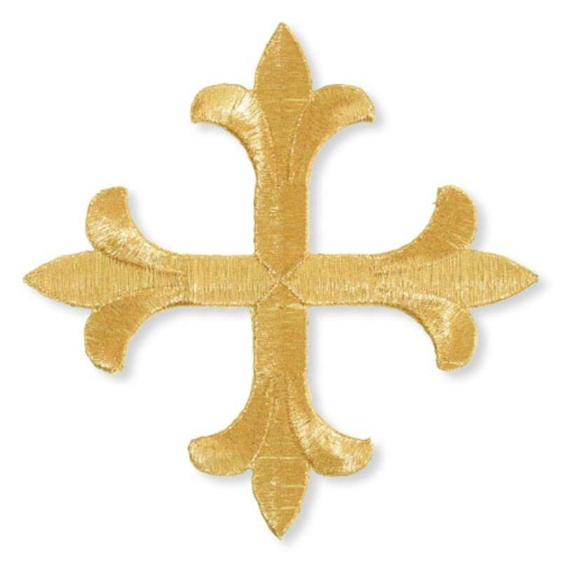 """1-1/4"""" Symmetric Fleur-de-Lis Cross Embroidered Applique"""