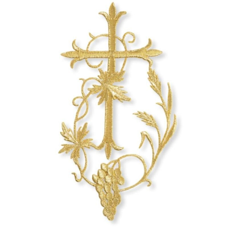 """7"""" Cross with Wheat and Grapes Embroidered Applique"""