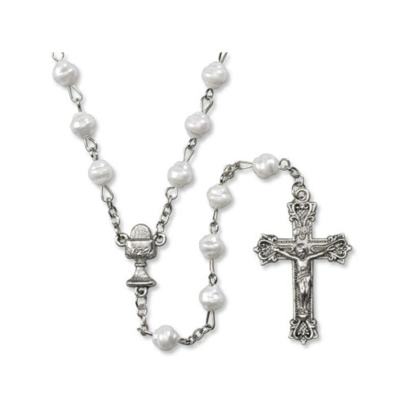 First Communion Imititation Fresh Water Pearl Rosary - 12/pk