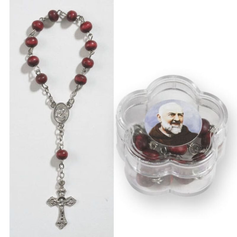 St. Pio Rose Scented One Decade Rosary with Case - 24/pk