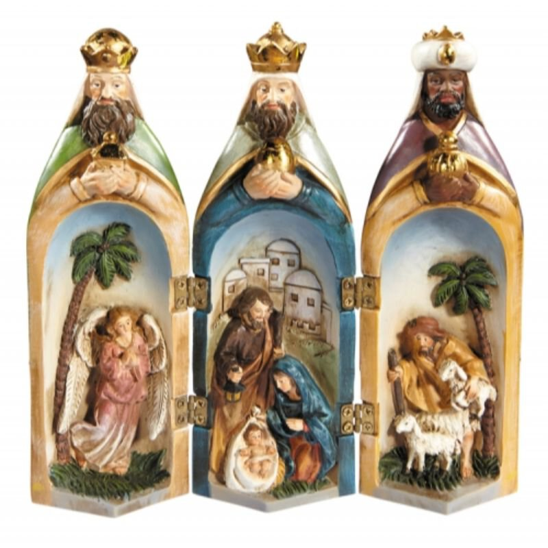 Three Kings Nativity Tri-Fold Figurine