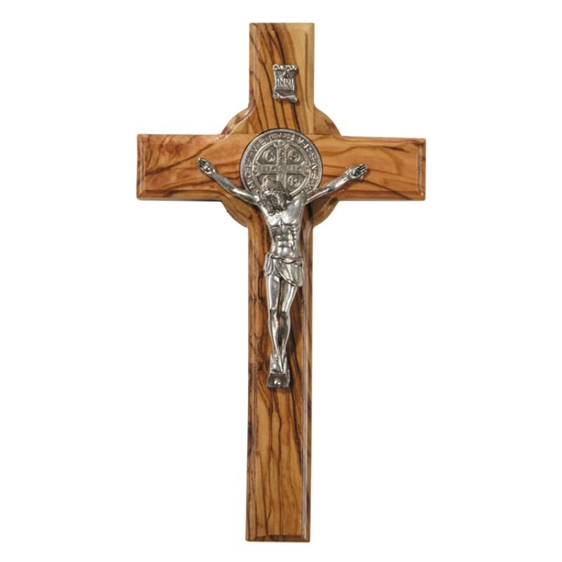 St. Benedict Olive Wood Wall Crucifix