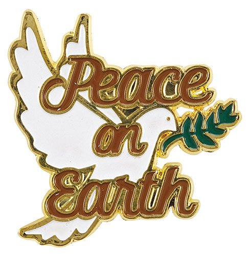 Peace on Earth Christmas Lapel Pin - 12/pk
