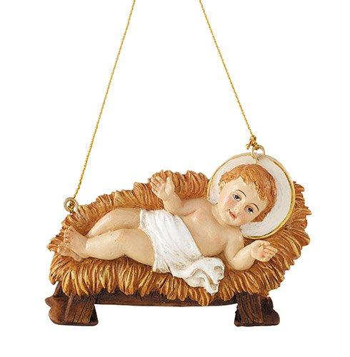 Christ Child in Manger Ornament - 4/pk