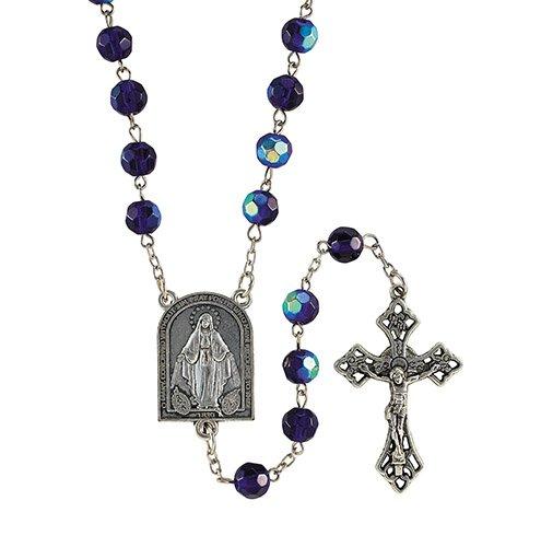 Sapphire AB Mysteries Center Rosary - 4/pk