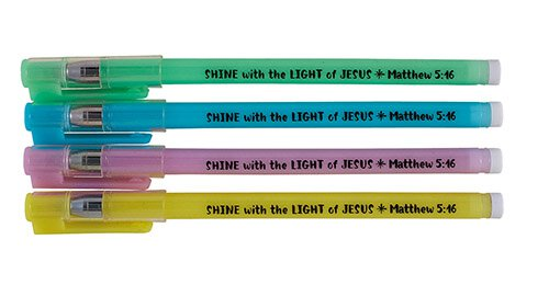 Shine with the Light of Jesus Glow in the Dark Pen Assortment (4 Asst) - 36/pk