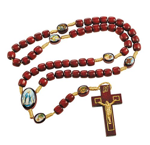 Devotional Saints Corded Wood Rosary - 12/pk