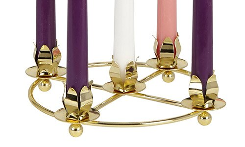 Five Taper Brass Advent Wreath - 3/pk