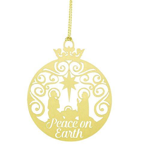 Peace on Earth Brass Nativity Ornament - 24/pk