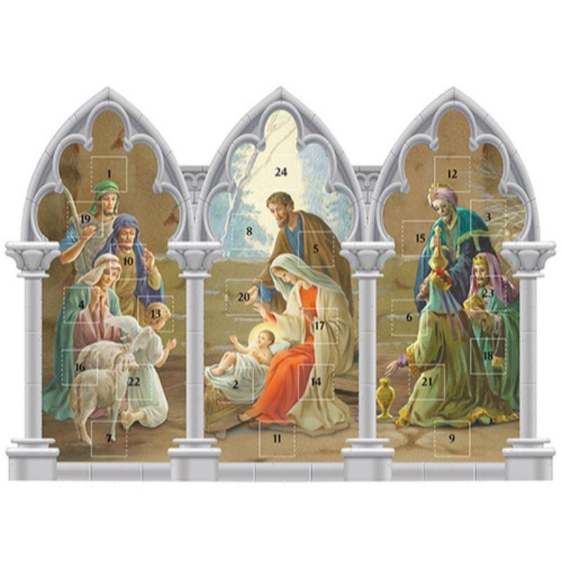 Triptych Standing Nativity Advent Calendar - 12/pk