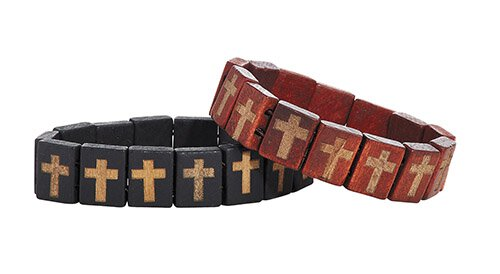 Wood Carved Cross Bracelet Assortment (2 Asst) - 12/pk