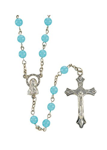 Blessed Mother Blue Luminous Bead Rosary - 12/pk