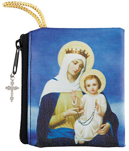 Our Lady of the Rosary Zipper Rosary Case - 12/pk
