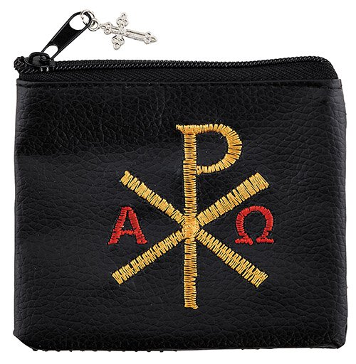 Chi Rho Embroidered Rosary Case - 12/pk