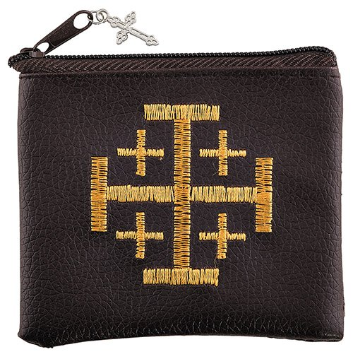 Jerusalem Cross Embroidered Rosary Case - 12/pk
