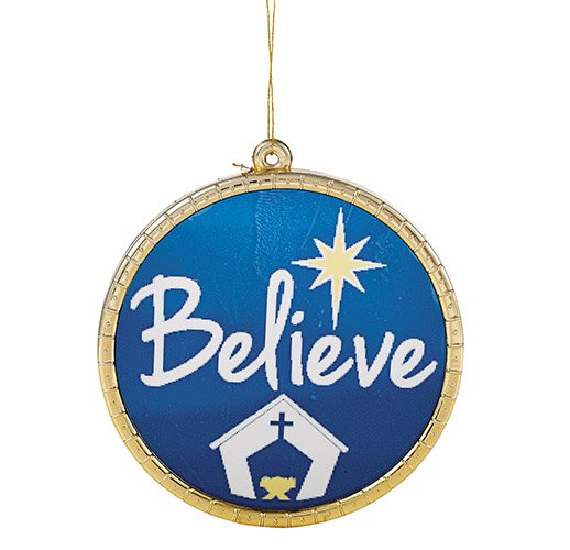 Believe Round Ornament - 18/pk