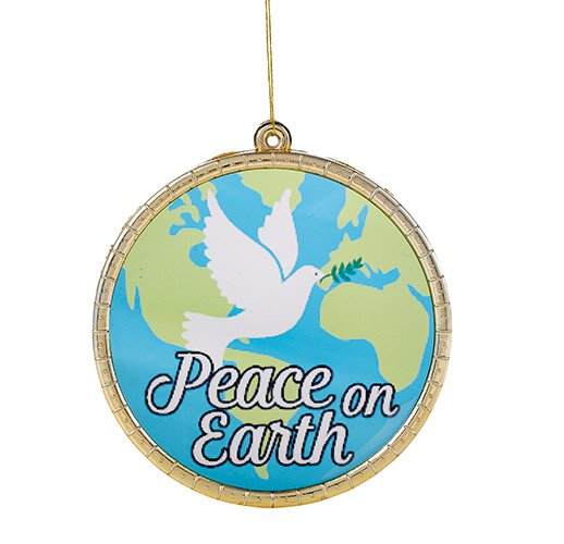 Peace on Earth Round Ornament - 18/pk