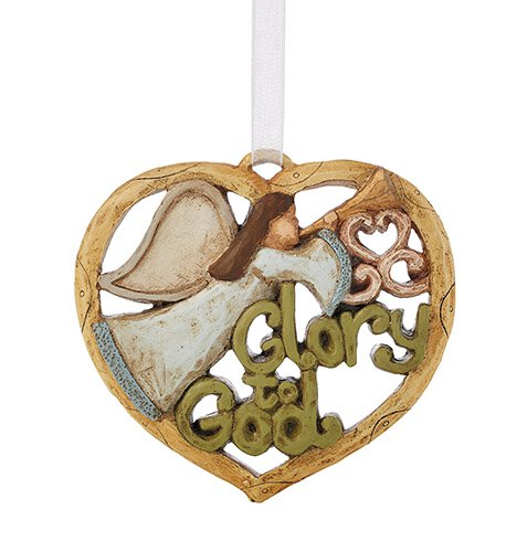 Glory to God Angel Heart Ornament - 6/pk