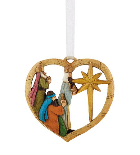 Three Kings Heart Ornament - 6/pk