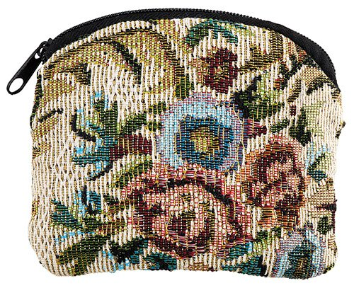 Ivory Floral Tapestry Rosary Case - 12/pk