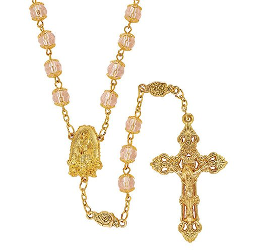 Our Lady of Guadalupe Gold Tone Capped Bead Rosary