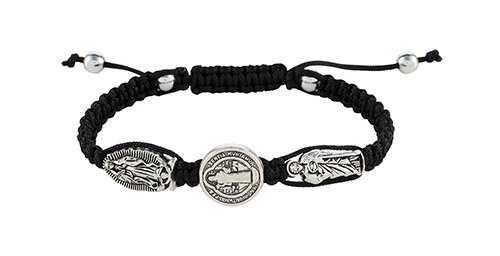 St. Benedict/St. Jude/Our Lady of Guadalupe Black Braided Bracelet - 12/pk