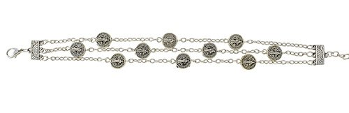 St. Benedict Medals Chain Rosary Bracelet - 12/pk