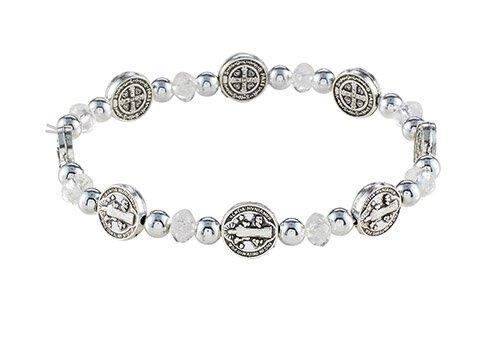 St. Benedict Crystal Medals Stretch Bracelet - 12/pk
