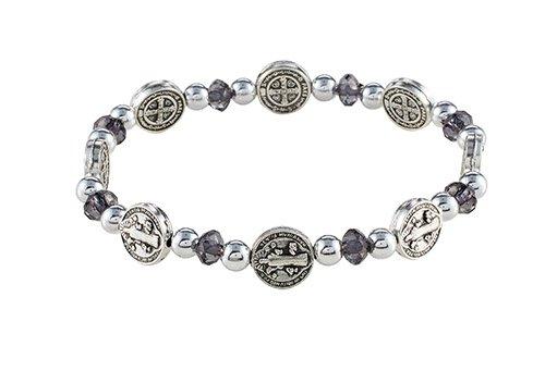 St. Benedict Black Medals Stretch Bracelet - 12/pk