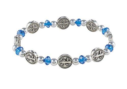 St. Benedict Sapphire Medals Stretch Bracelet - 12/pk