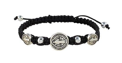Black St. Benedict Trinity Medals Bracelet - 12/pk
