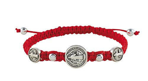 Red St. Benedict Trinity Medals Bracelet - 12/pk