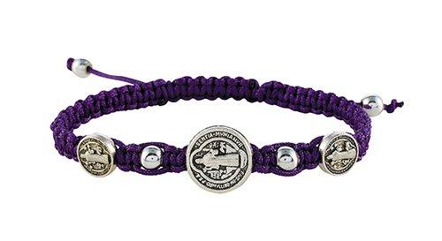 Purple St. Benedict Trinity Medals Bracelet - 12/pk