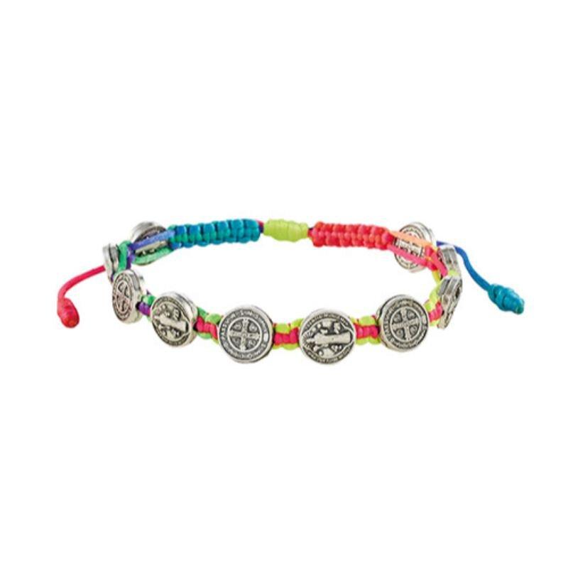 St. Benedict Medals Rainbow Cord Bracelet- 12/pk