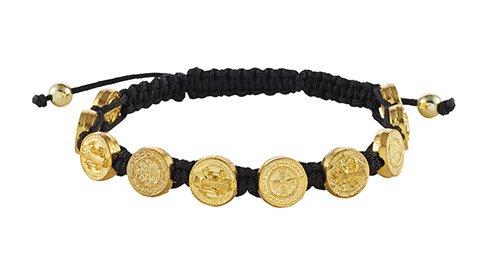 Gold St. Benedict Medal Bracelet - 12/pk