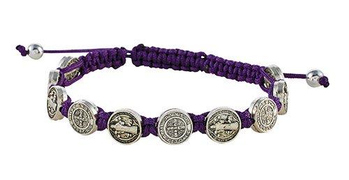 St Benedict Medal W Purple Cord Bracelet 12 Pk