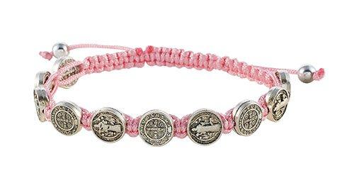 St Benedict Medal W Pink Cord Bracelet 12 Pk