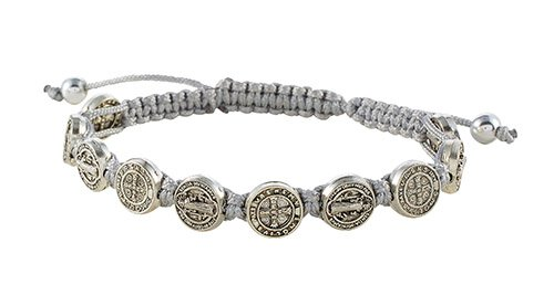 St. Benedict Medal w/Grey Cord Bracelet - 12/pk