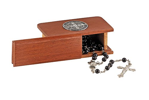 St. Benedict Wood Rosary Box - 3/pk