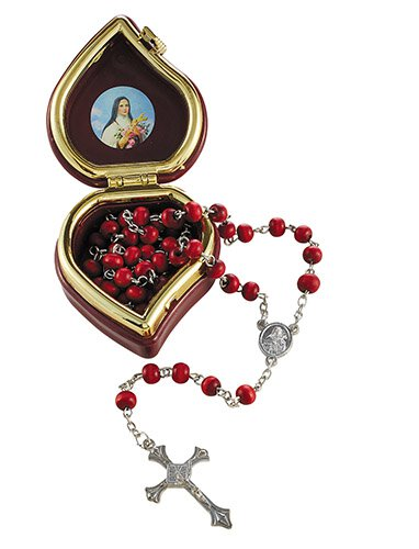 St. Therese Rose Scented Rosary with Case - 12/pk