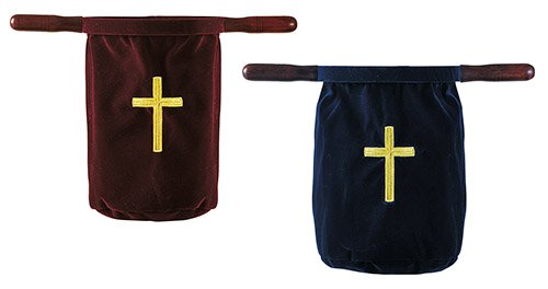 Embroidered Cross Offering Bag