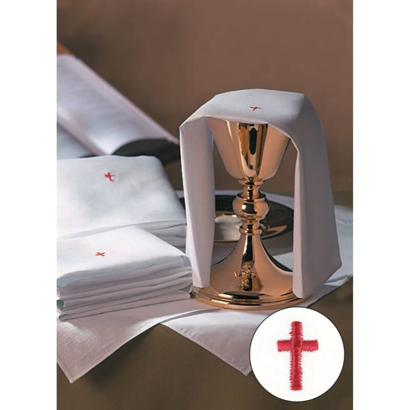 100% Linen Altar Appointment Set with Red Cross