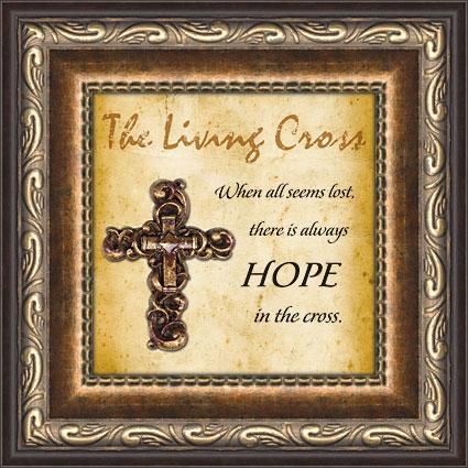Hope Living Cross Framed Verse