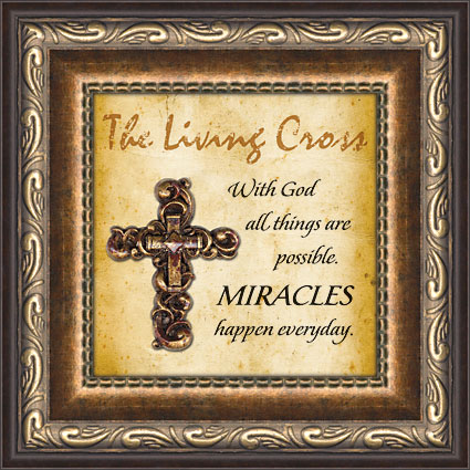 Miracles Happen Living Cross Framed Verse