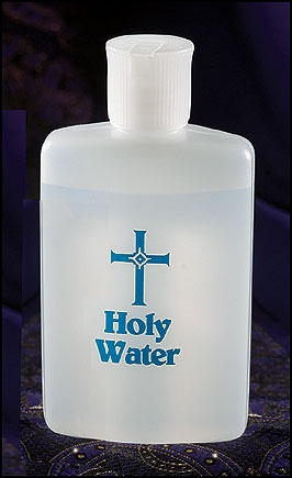 Holy Water Bottle with Blue Lettering - 12/pk
