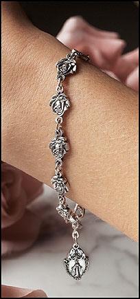 Pewter Rose Rosary Bracelet