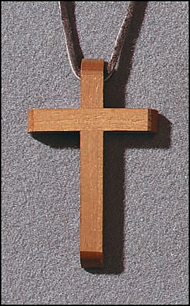 Beveled Wood Cross Pendant - 12/pk